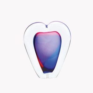 Glazen urn hart paars