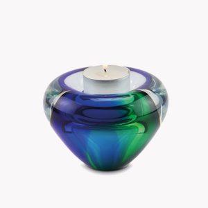 Glazen urn met waxinelicht blauw/groen